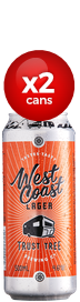 West Coast Brewing Co Lager x2 cans
